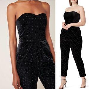 Monique Lhuillier Studded Velvet Jumpsuit Size 16